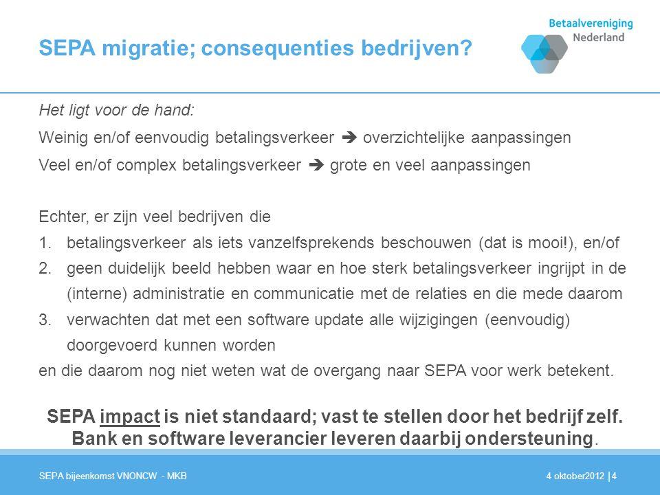 | SEPA migratie; consequenties bedrijven.