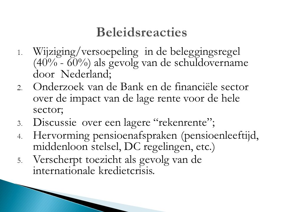 1. Wijziging/versoepeling in de beleggingsregel (40% - 60%) als gevolg van de schuldovername door Nederland; 2. Onderzoek van de Bank en de financiële