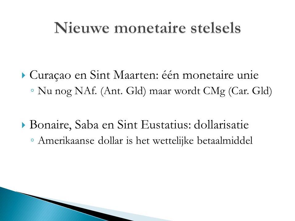  Curaçao en Sint Maarten: één monetaire unie ◦ Nu nog NAf. (Ant. Gld) maar wordt CMg (Car. Gld)  Bonaire, Saba en Sint Eustatius: dollarisatie ◦ Ame
