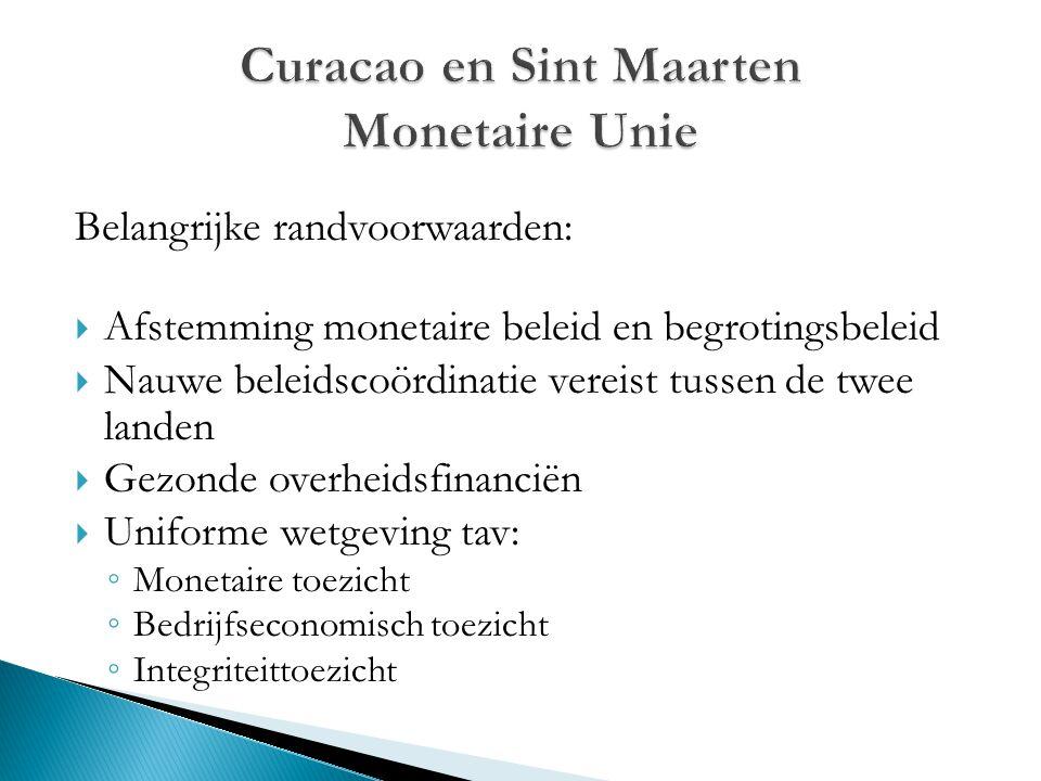 Belangrijke randvoorwaarden:  Afstemming monetaire beleid en begrotingsbeleid  Nauwe beleidscoördinatie vereist tussen de twee landen  Gezonde over