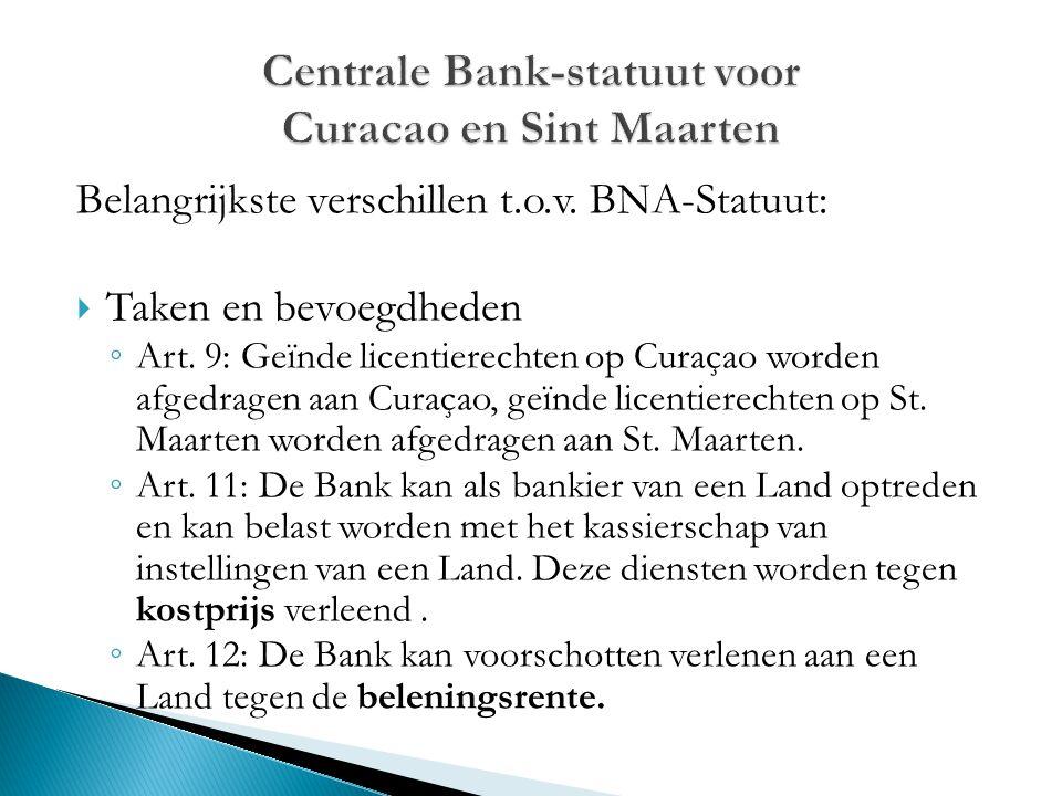 Belangrijkste verschillen t.o.v. BNA-Statuut:  Taken en bevoegdheden ◦ Art. 9: Geïnde licentierechten op Curaçao worden afgedragen aan Curaçao, geïnd