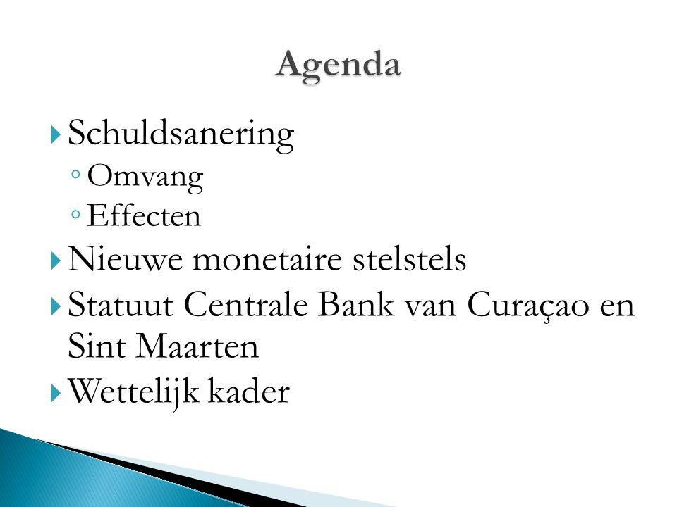  Schuldsanering ◦ Omvang ◦ Effecten  Nieuwe monetaire stelstels  Statuut Centrale Bank van Curaçao en Sint Maarten  Wettelijk kader