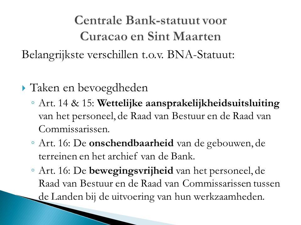 Belangrijkste verschillen t.o.v. BNA-Statuut:  Taken en bevoegdheden ◦ Art. 14 & 15: Wettelijke aansprakelijkheidsuitsluiting van het personeel, de R