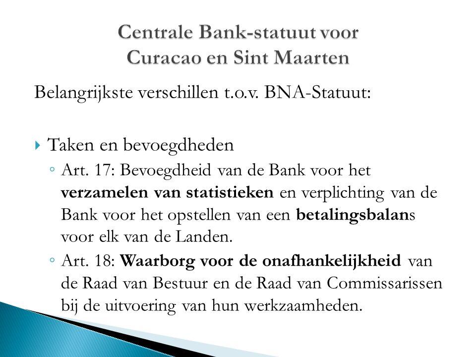 Belangrijkste verschillen t.o.v. BNA-Statuut:  Taken en bevoegdheden ◦ Art. 17: Bevoegdheid van de Bank voor het verzamelen van statistieken en verpl