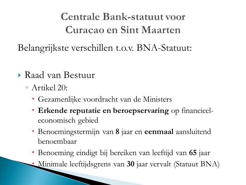 Belangrijkste verschillen t.o.v. BNA-Statuut:  Raad van Bestuur ◦ Artikel 20:  Gezamenlijke voordracht van de Ministers  Erkende reputatie en beroe