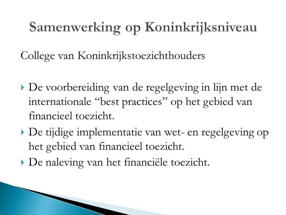 """College van Koninkrijkstoezichthouders  De voorbereiding van de regelgeving in lijn met de internationale """"best practices"""" op het gebied van financie"""