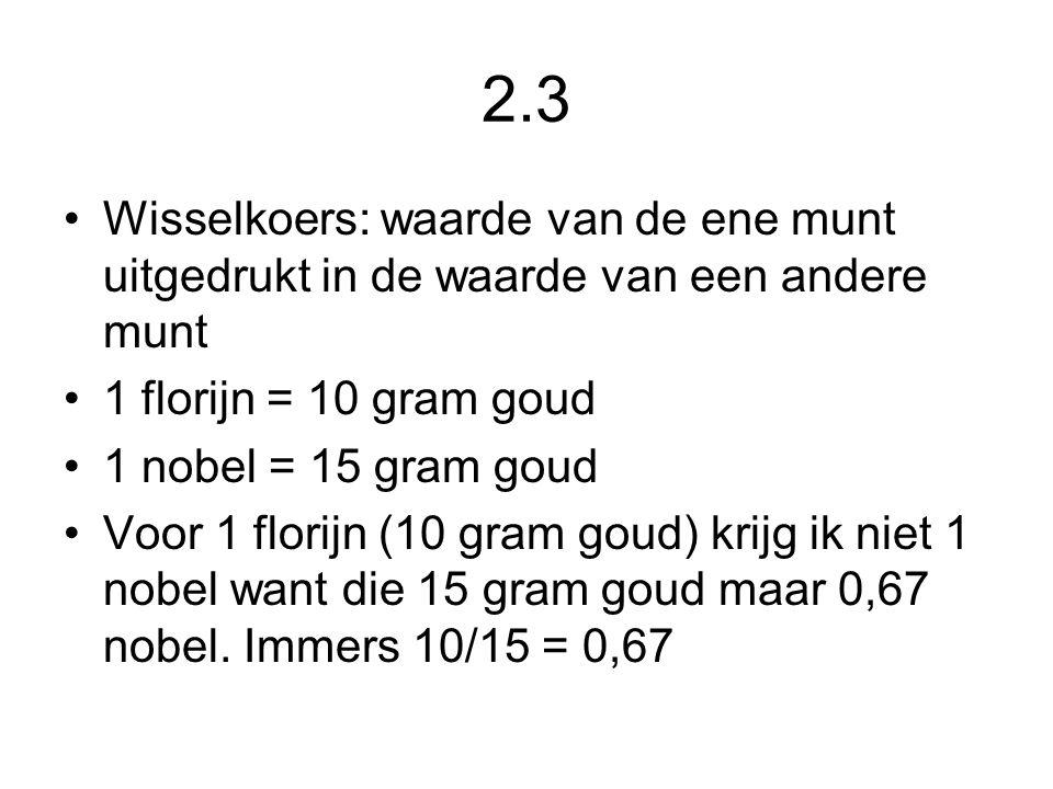2.3 Wisselkoers: waarde van de ene munt uitgedrukt in de waarde van een andere munt 1 florijn = 10 gram goud 1 nobel = 15 gram goud Voor 1 florijn (10