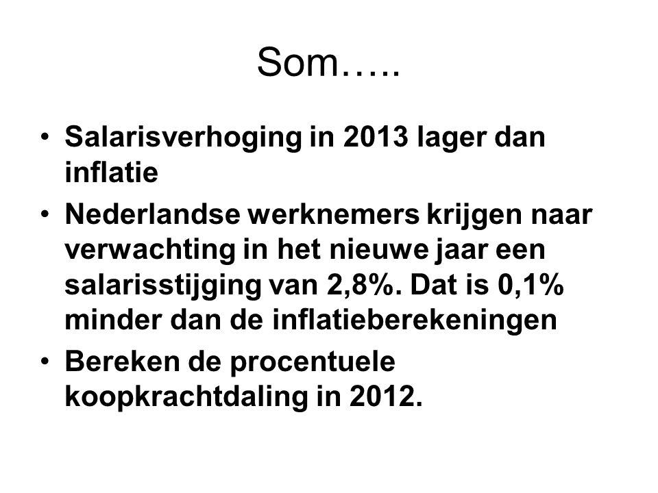 Som….. Salarisverhoging in 2013 lager dan inflatie Nederlandse werknemers krijgen naar verwachting in het nieuwe jaar een salarisstijging van 2,8%. Da