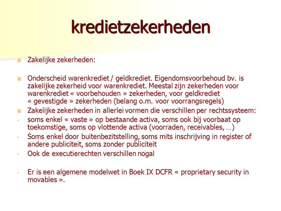 kredietzekerheden Zakelijke zekerheden: Zakelijke zekerheden: Onderscheid warenkrediet / geldkrediet.
