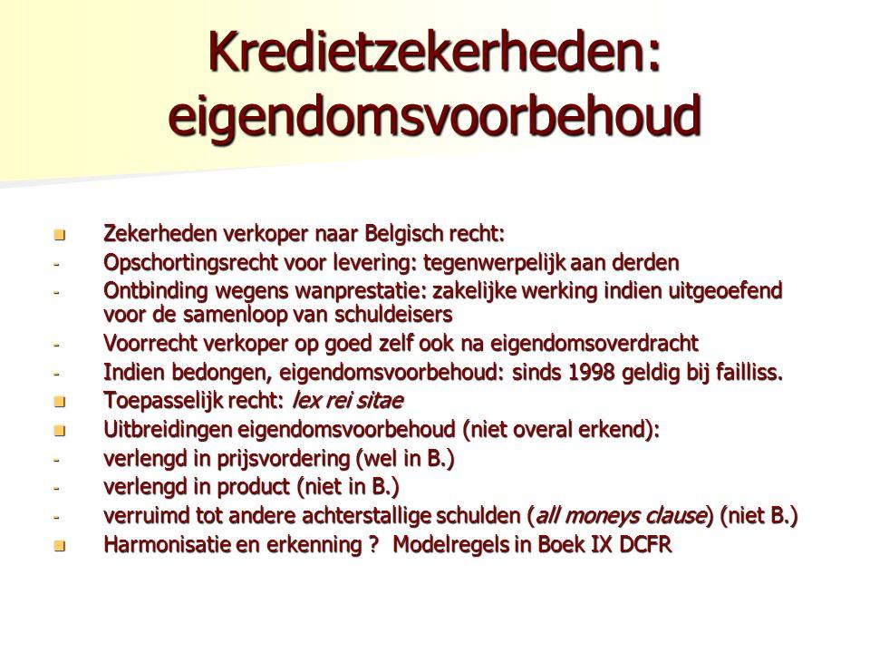 Kredietzekerheden: eigendomsvoorbehoud Zekerheden verkoper naar Belgisch recht: Zekerheden verkoper naar Belgisch recht: - Opschortingsrecht voor levering: tegenwerpelijk aan derden - Ontbinding wegens wanprestatie: zakelijke werking indien uitgeoefend voor de samenloop van schuldeisers - Voorrecht verkoper op goed zelf ook na eigendomsoverdracht - Indien bedongen, eigendomsvoorbehoud: sinds 1998 geldig bij failliss.