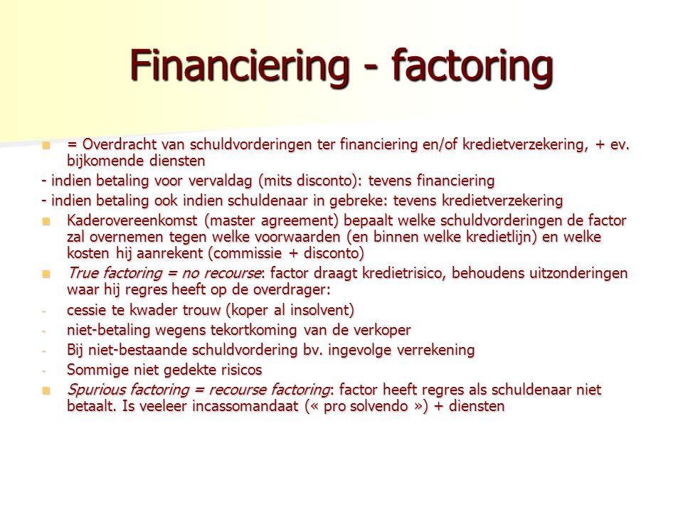 Financiering - factoring = Overdracht van schuldvorderingen ter financiering en/of kredietverzekering, + ev.