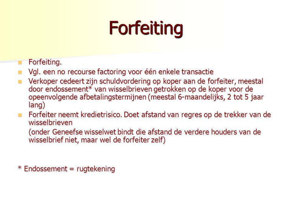 Forfeiting Forfeiting. Forfeiting. Vgl. een no recourse factoring voor één enkele transactie Vgl. een no recourse factoring voor één enkele transactie