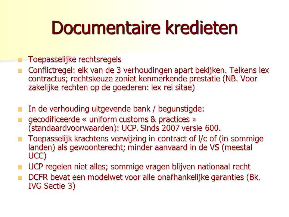 Documentaire kredieten Toepasselijke rechtsregels Toepasselijke rechtsregels Conflictregel: elk van de 3 verhoudingen apart bekijken. Telkens lex cont