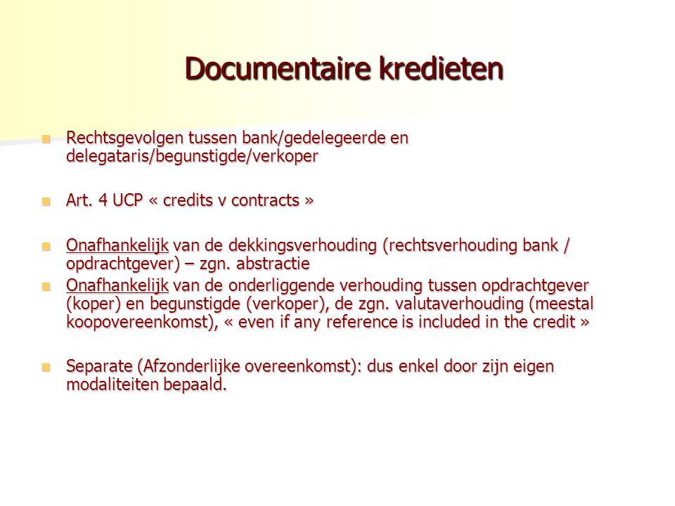 Documentaire kredieten Documentaire kredieten Rechtsgevolgen tussen bank/gedelegeerde en delegataris/begunstigde/verkoper Rechtsgevolgen tussen bank/gedelegeerde en delegataris/begunstigde/verkoper Art.