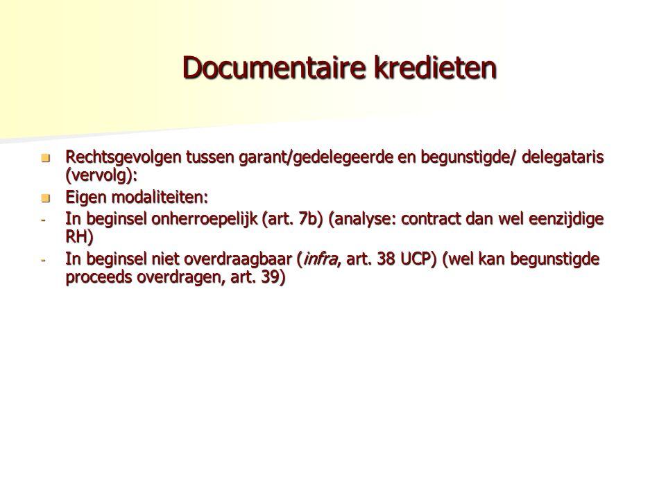 Documentaire kredieten Documentaire kredieten Rechtsgevolgen tussen garant/gedelegeerde en begunstigde/ delegataris (vervolg): Rechtsgevolgen tussen garant/gedelegeerde en begunstigde/ delegataris (vervolg): Eigen modaliteiten: Eigen modaliteiten: - In beginsel onherroepelijk (art.