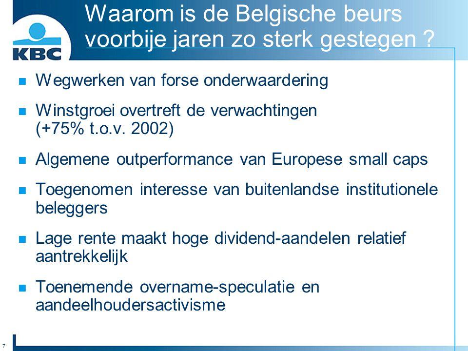 7 Waarom is de Belgische beurs voorbije jaren zo sterk gestegen ? Wegwerken van forse onderwaardering Winstgroei overtreft de verwachtingen (+75% t.o.