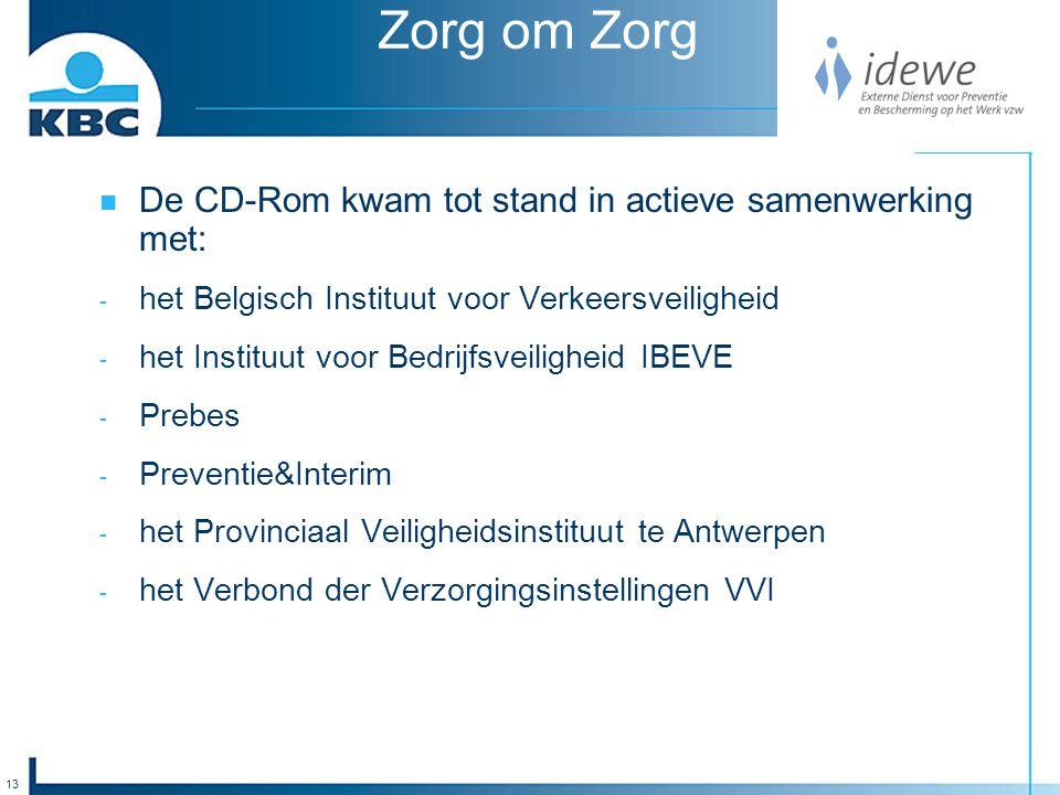 13 Zorg om Zorg De CD-Rom kwam tot stand in actieve samenwerking met: - het Belgisch Instituut voor Verkeersveiligheid - het Instituut voor Bedrijfsveiligheid IBEVE - Prebes - Preventie&Interim - het Provinciaal Veiligheidsinstituut te Antwerpen - het Verbond der Verzorgingsinstellingen VVI
