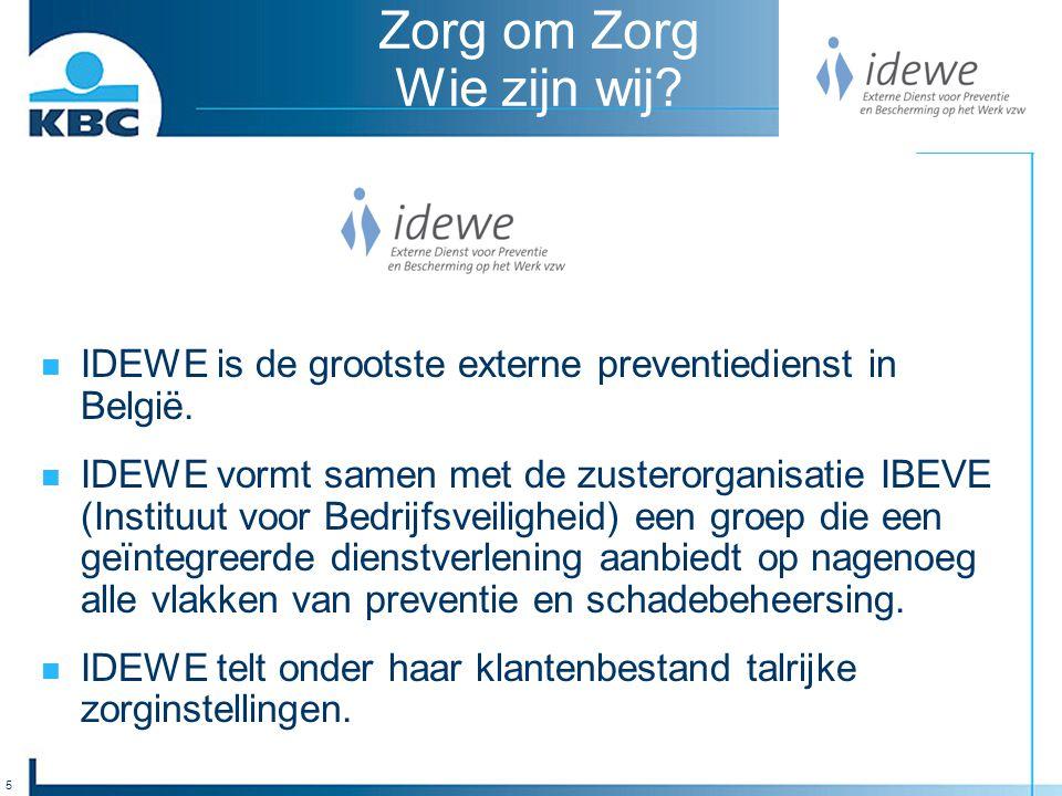 5 Zorg om Zorg Wie zijn wij. IDEWE is de grootste externe preventiedienst in België.