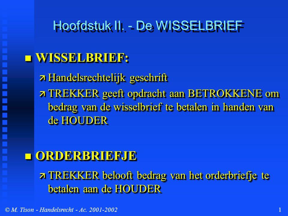 © M. Tison- Handelsrecht - Ac. 2001-20021 Hoofdstuk II. - De WISSELBRIEF WISSELBRIEF: WISSELBRIEF:  Handelsrechtelijk geschrift  TREKKER geeft opdra