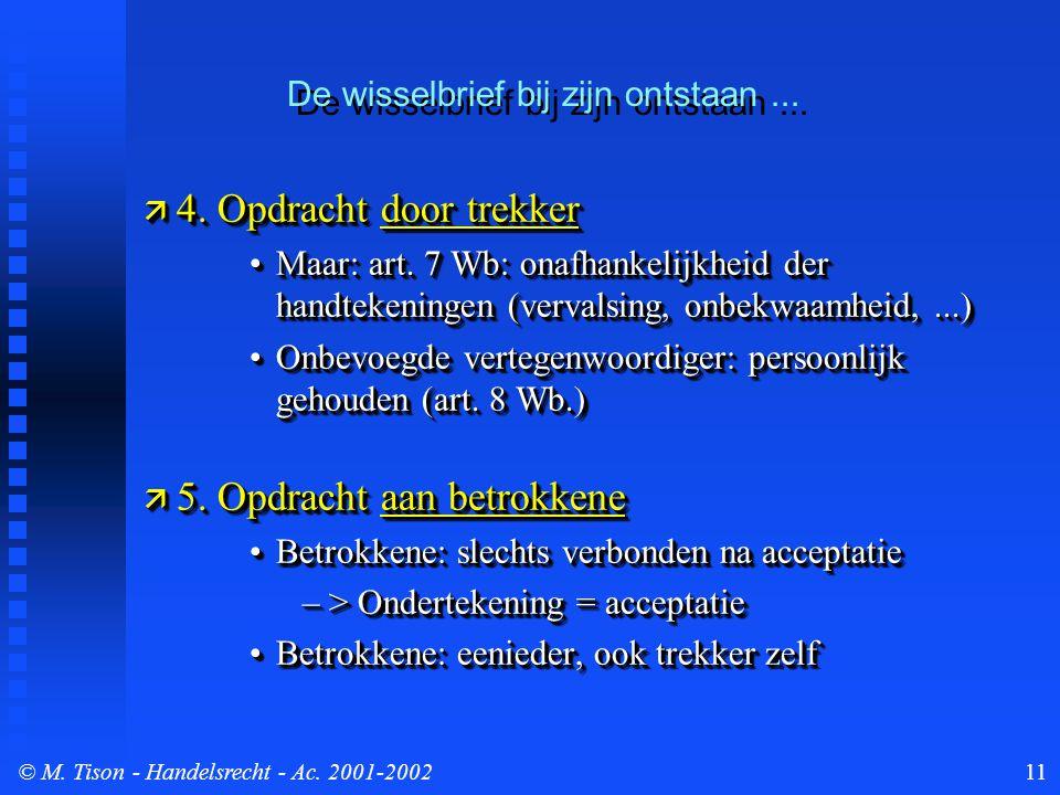 © M. Tison- Handelsrecht - Ac. 2001-200211  4. Opdracht door trekker Maar: art. 7 Wb: onafhankelijkheid der handtekeningen (vervalsing, onbekwaamheid