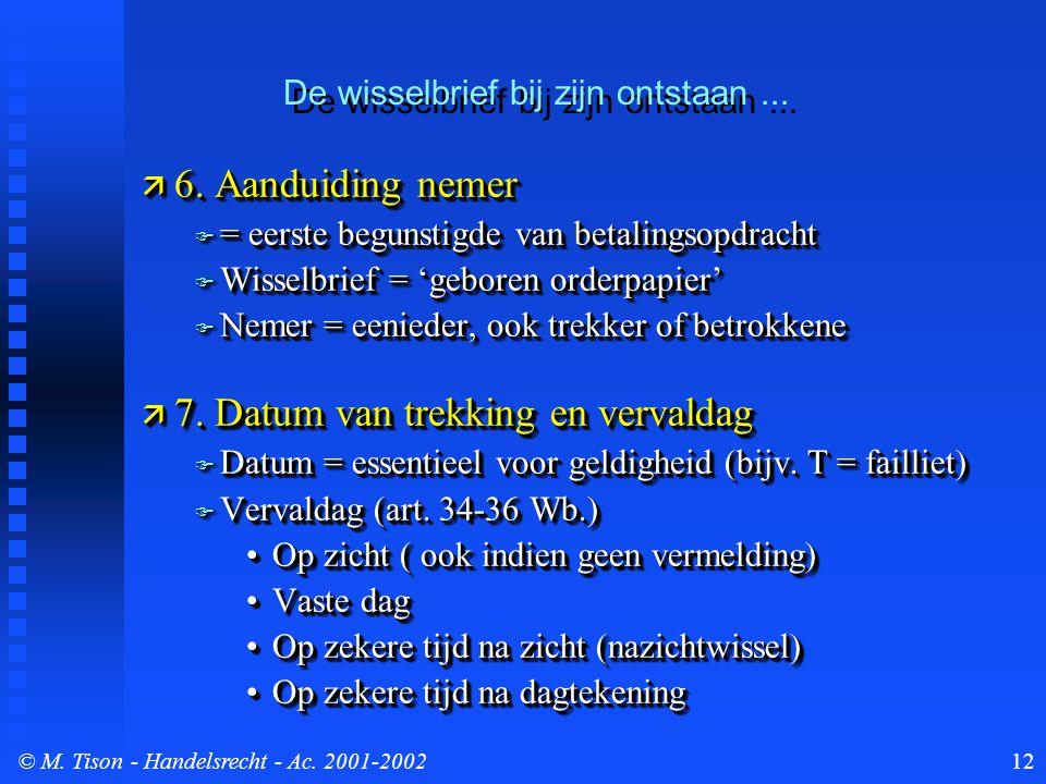 © M. Tison- Handelsrecht - Ac. 2001-200212  6. Aanduiding nemer  = eerste begunstigde van betalingsopdracht  Wisselbrief = 'geboren orderpapier' 