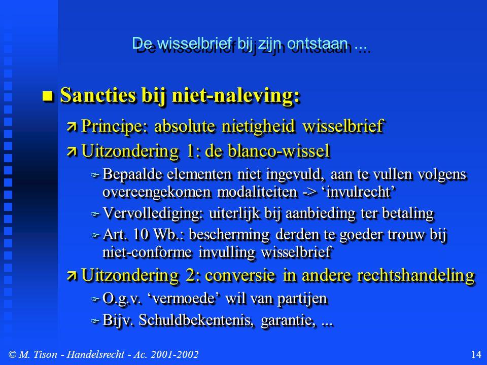 © M. Tison- Handelsrecht - Ac. 2001-200214 Sancties bij niet-naleving: Sancties bij niet-naleving:  Principe: absolute nietigheid wisselbrief  Uitzo