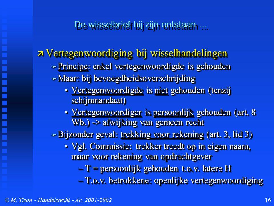 © M. Tison- Handelsrecht - Ac. 2001-200216  Vertegenwoordiging bij wisselhandelingen  Principe: enkel vertegenwoordigde is gehouden  Maar: bij bevo