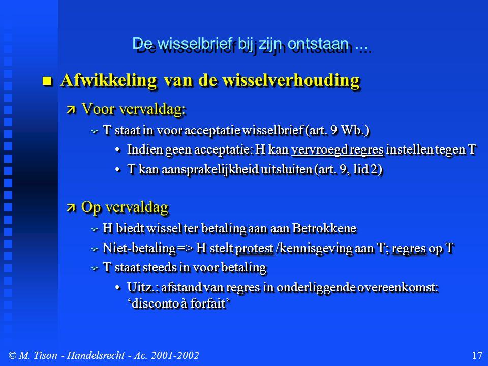 © M. Tison- Handelsrecht - Ac. 2001-200217 Afwikkeling van de wisselverhouding Afwikkeling van de wisselverhouding  Voor vervaldag:  T staat in voor