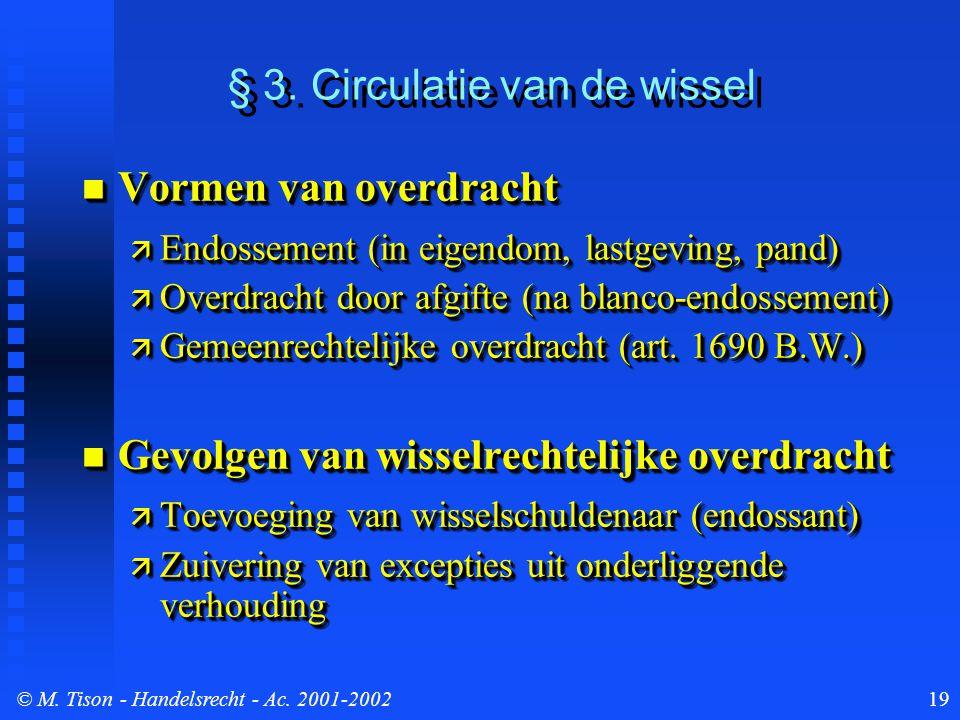 © M. Tison- Handelsrecht - Ac. 2001-200219 § 3. Circulatie van de wissel Vormen van overdracht Vormen van overdracht  Endossement (in eigendom, lastg