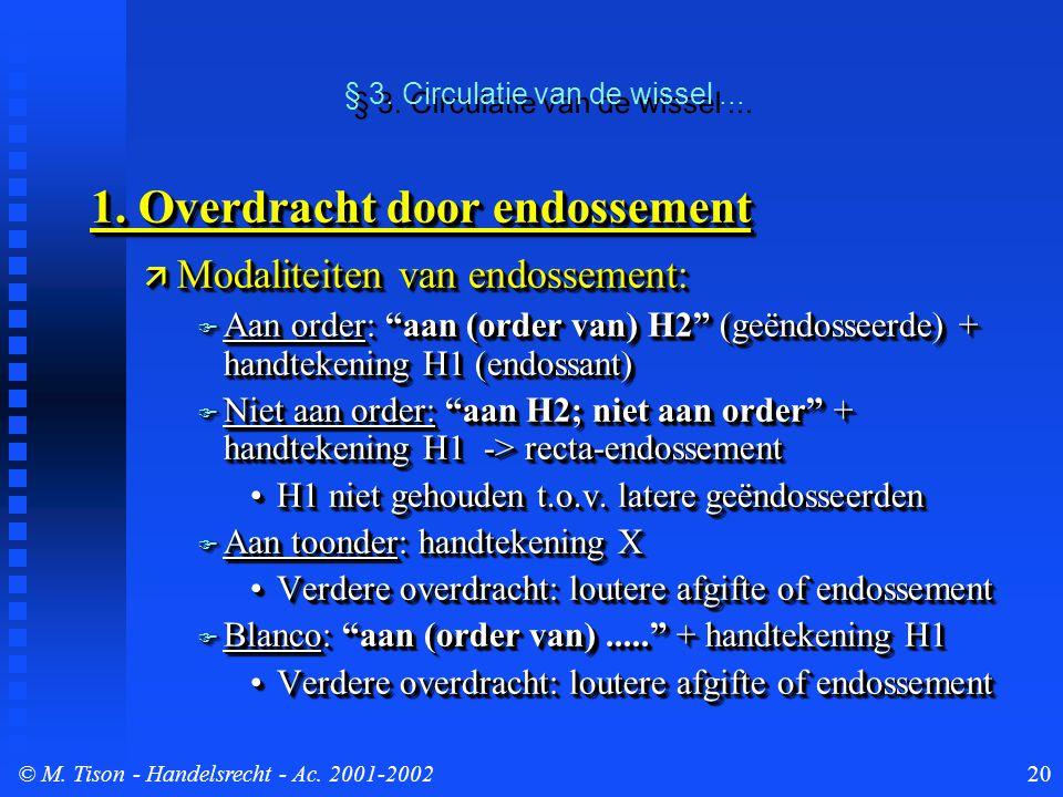 © M. Tison- Handelsrecht - Ac. 2001-200220 § 3. Circulatie van de wissel... 1. Overdracht door endossement  Modaliteiten van endossement:  Aan order