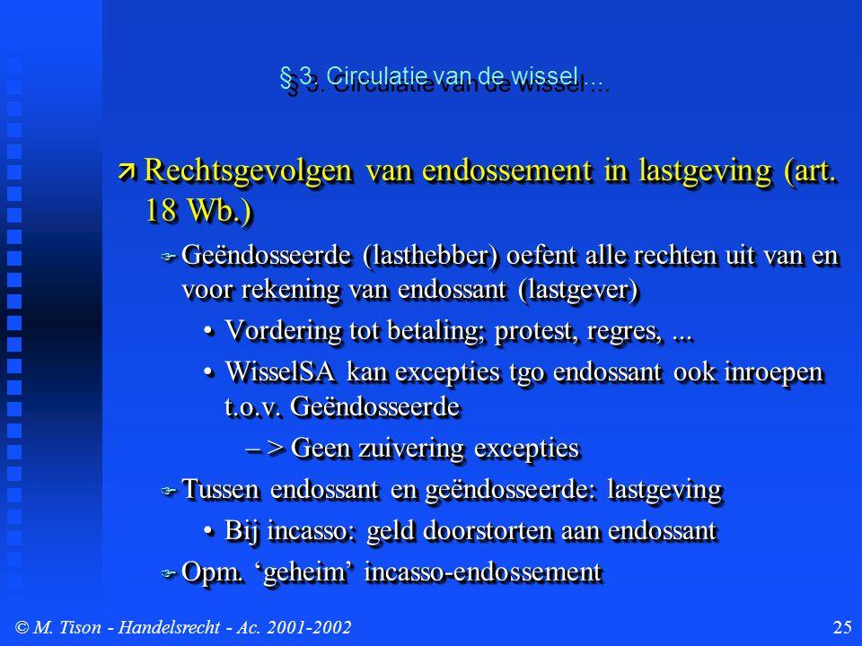 © M. Tison- Handelsrecht - Ac. 2001-200225  Rechtsgevolgen van endossement in lastgeving (art. 18 Wb.)  Geëndosseerde (lasthebber) oefent alle recht