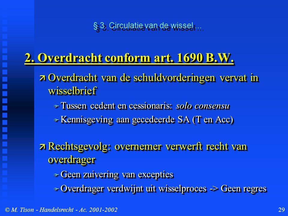 © M. Tison- Handelsrecht - Ac. 2001-200229 2. Overdracht conform art. 1690 B.W.  Overdracht van de schuldvorderingen vervat in wisselbrief  Tussen c