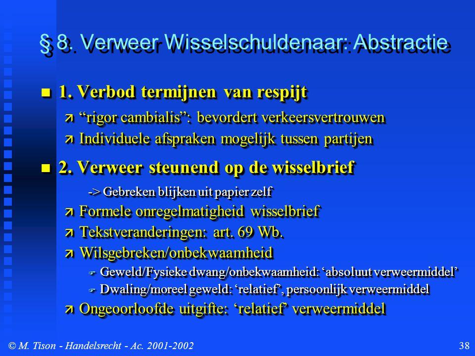 © M. Tison- Handelsrecht - Ac. 2001-200238 § 8. Verweer Wisselschuldenaar: Abstractie 1. Verbod termijnen van respijt 1. Verbod termijnen van respijt