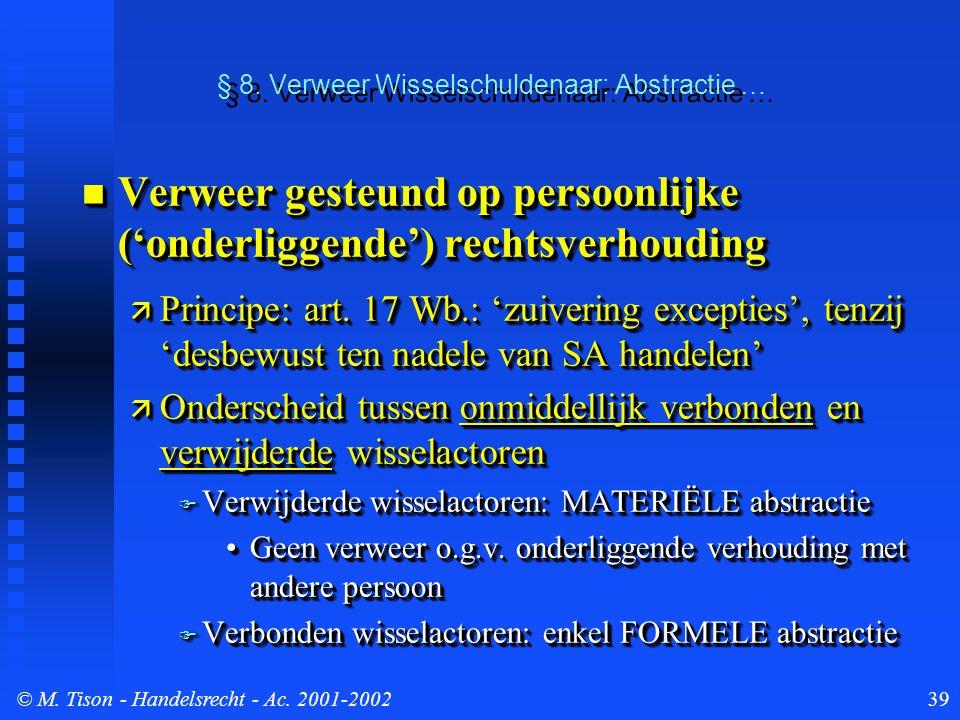 © M. Tison- Handelsrecht - Ac. 2001-200239 § 8. Verweer Wisselschuldenaar: Abstractie … Verweer gesteund op persoonlijke ('onderliggende') rechtsverho