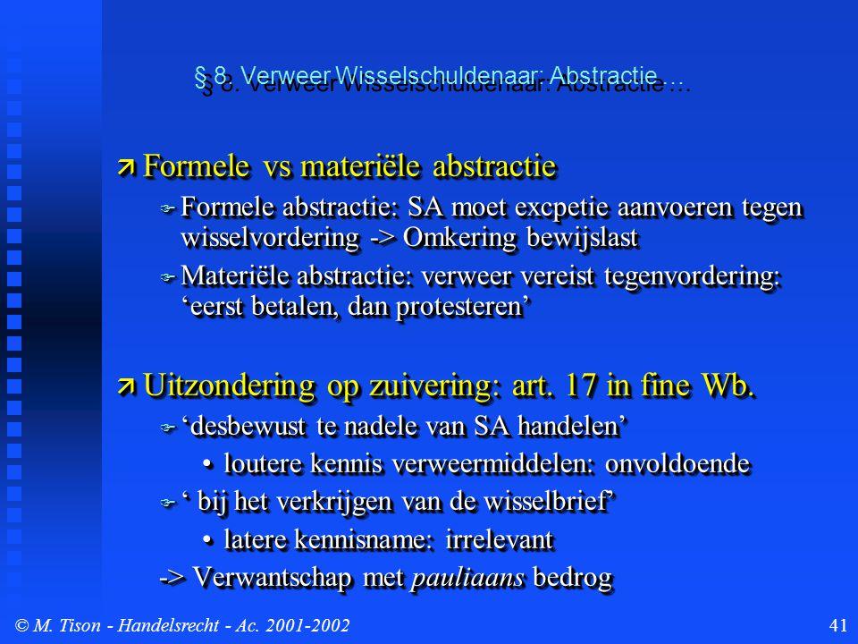 © M. Tison- Handelsrecht - Ac. 2001-200241 § 8. Verweer Wisselschuldenaar: Abstractie …  Formele vs materiële abstractie  Formele abstractie: SA moe