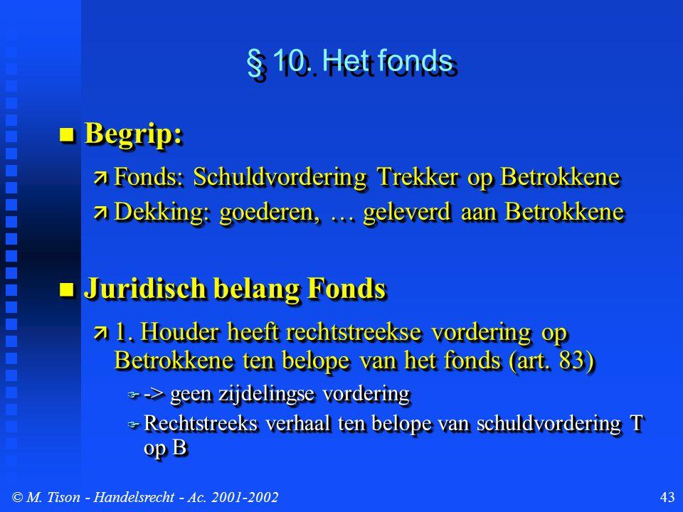 © M. Tison- Handelsrecht - Ac. 2001-200243 § 10. Het fonds Begrip: Begrip:  Fonds: Schuldvordering Trekker op Betrokkene  Dekking: goederen, … gelev