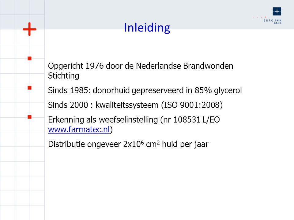 Inleiding Opgericht 1976 door de Nederlandse Brandwonden Stichting Sinds 1985: donorhuid gepreserveerd in 85% glycerol Sinds 2000 : kwaliteitssysteem
