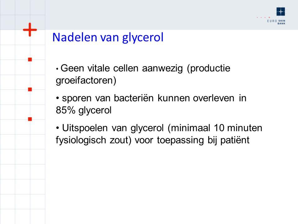 Nadelen van glycerol Geen vitale cellen aanwezig (productie groeifactoren) sporen van bacteriën kunnen overleven in 85% glycerol Uitspoelen van glycer