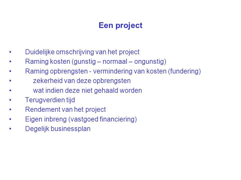 Een project Duidelijke omschrijving van het project Raming kosten (gunstig – normaal – ongunstig) Raming opbrengsten - vermindering van kosten (funder