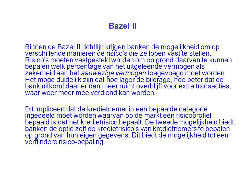 Bazel II Binnen de Bazel II richtlijn krijgen banken de mogelijkheid om op verschillende manieren de risico's die ze lopen vast te stellen. Risico's m