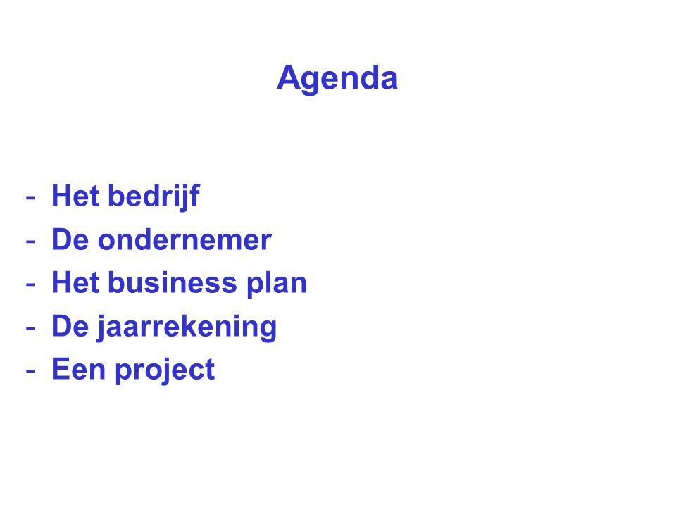 Agenda -Het bedrijf -De ondernemer -Het business plan -De jaarrekening -Een project