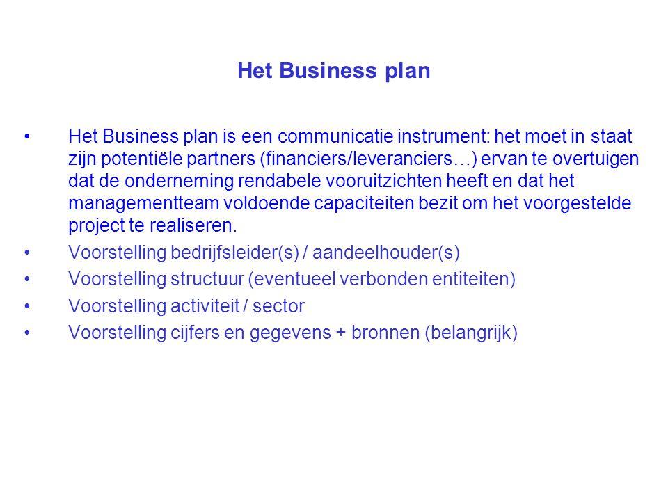 Het Business plan Het Business plan is een communicatie instrument: het moet in staat zijn potentiële partners (financiers/leveranciers…) ervan te overtuigen dat de onderneming rendabele vooruitzichten heeft en dat het managementteam voldoende capaciteiten bezit om het voorgestelde project te realiseren.