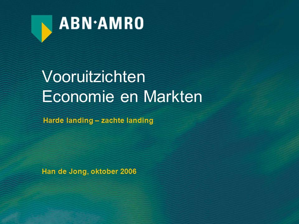 Vooruitzichten Economie en Markten Harde landing – zachte landing Han de Jong, oktober 2006