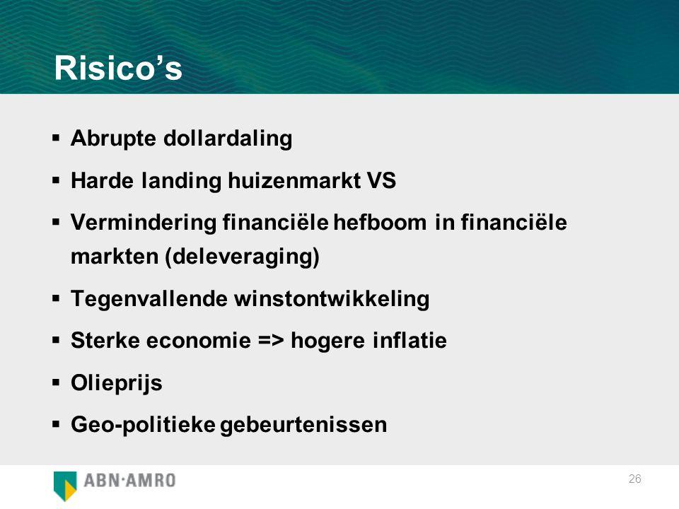 26 Risico's  Abrupte dollardaling  Harde landing huizenmarkt VS  Vermindering financiële hefboom in financiële markten (deleveraging)  Tegenvallen