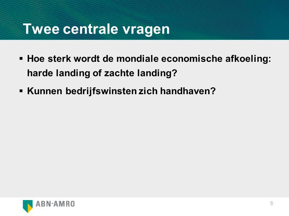 6 Twee centrale vragen  Hoe sterk wordt de mondiale economische afkoeling: harde landing of zachte landing?  Kunnen bedrijfswinsten zich handhaven?