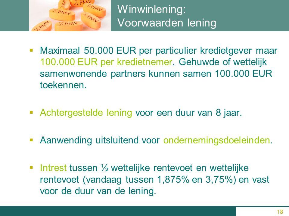 18 Winwinlening: Voorwaarden lening  Maximaal 50.000 EUR per particulier kredietgever maar 100.000 EUR per kredietnemer. Gehuwde of wettelijk samenwo