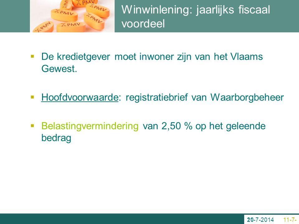 Winwinlening: jaarlijks fiscaal voordeel  De kredietgever moet inwoner zijn van het Vlaams Gewest.  Hoofdvoorwaarde: registratiebrief van Waarborgbe