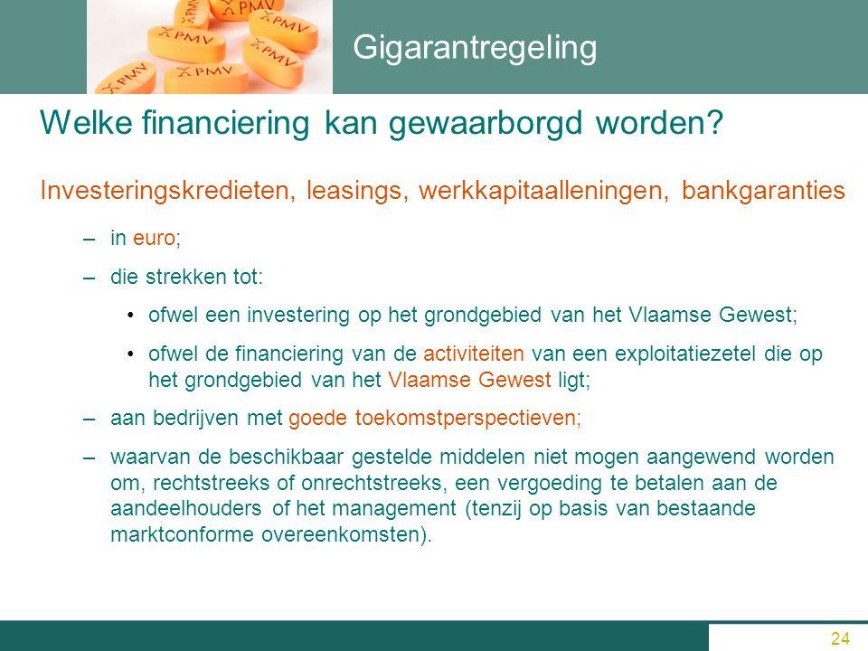 Gigarantregeling Investeringskredieten, leasings, werkkapitaalleningen, bankgaranties –i–in euro; –d–die strekken tot: ofwel een investering op het gr
