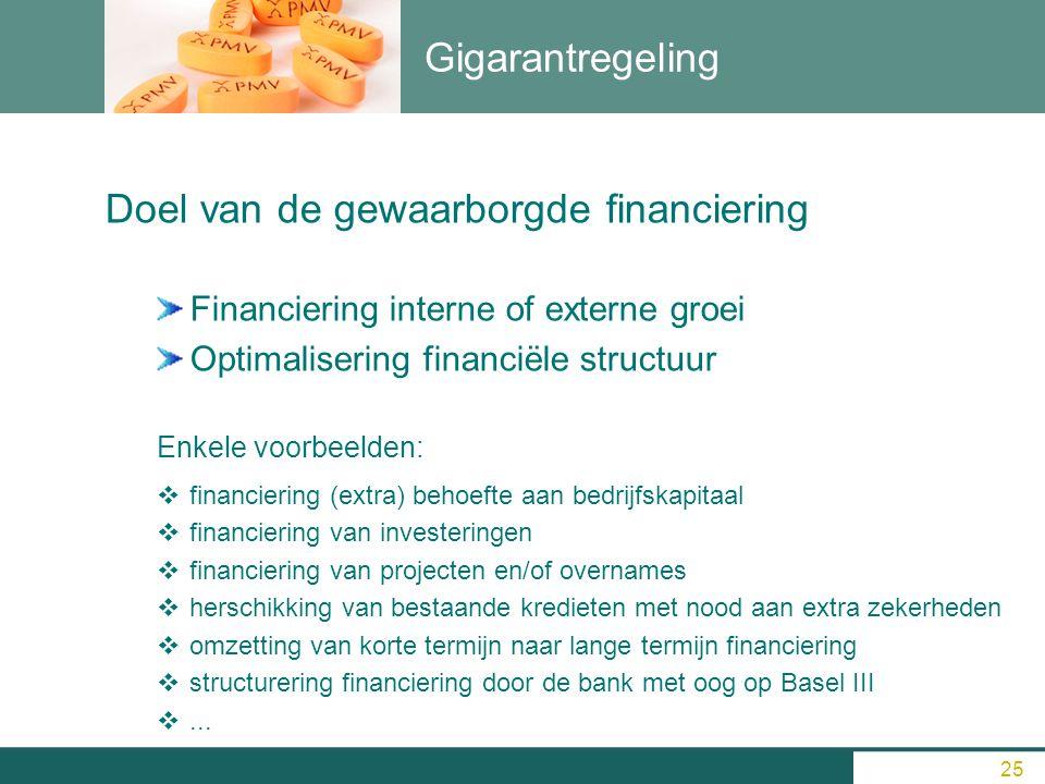 Gigarantregeling Doel van de gewaarborgde financiering Financiering interne of externe groei Optimalisering financiële structuur Enkele voorbeelden: 