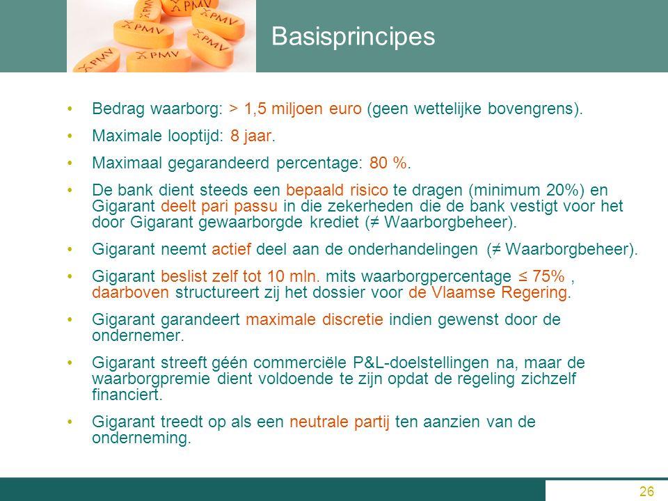 Basisprincipes Bedrag waarborg: > 1,5 miljoen euro (geen wettelijke bovengrens). Maximale looptijd: 8 jaar. Maximaal gegarandeerd percentage: 80 %. De